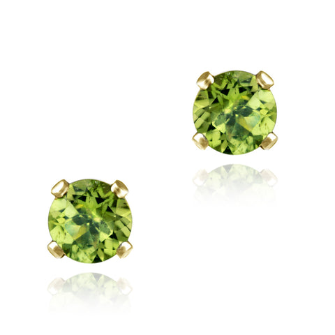 18K Gold over Sterling Silver 1/2ct Peridot Stud Earrings, 4mm