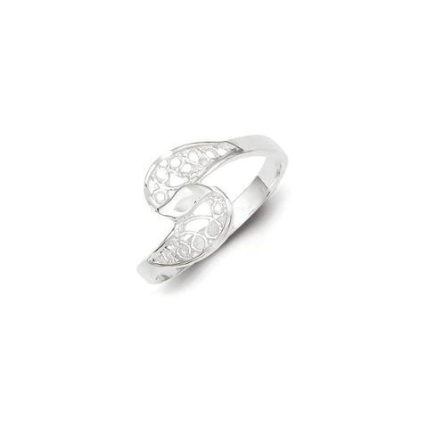 925 Sterling Silver Filigree Shell Ring: Size: 6