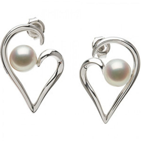 7mm Round White Pearl Earrings -925 Sterling