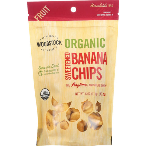 Woodstock Fruit- Organic - Banana Chips - Sweetened - 6 oz - case of 8