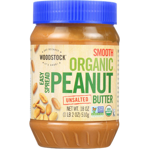 Woodstock Nut Butter - Organic - Peanut - Easy Spread - Smooth - Unsalted - 18 oz - case of 12
