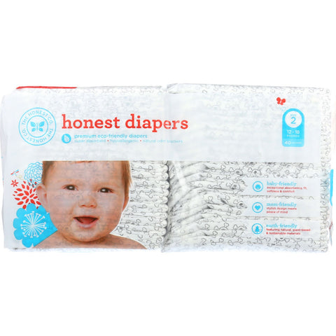 The Honest Company Diapers - Skulls - Size 2 - Babies 12 to 18 lbs - 40 count - 1 each