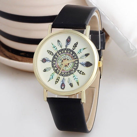 Womens Vintage Feather Dial Leather Band Quartz Analog Unique Wrist Watches