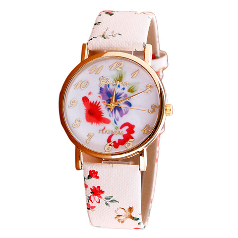 Flower Patterns Leather Band Analog Quartz Vogue Wrist Watches