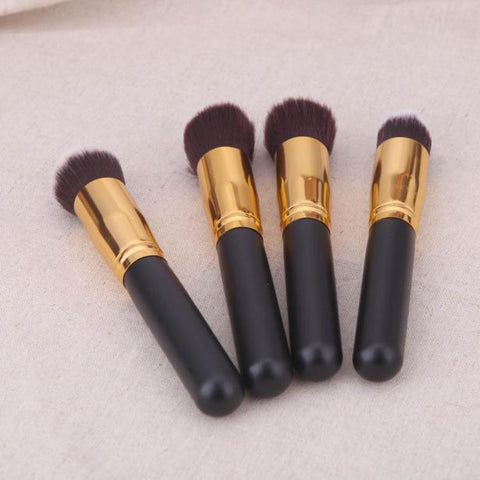 4 Pcs Black Synthetic Kabuki Flat Foundation Brush Single Makeup Cosmetic Brush