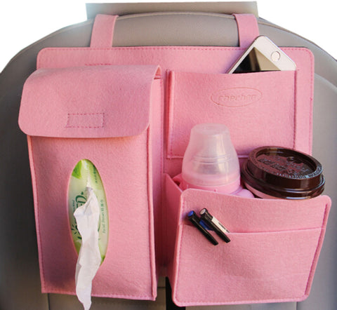 Multi-Pocket Travel Storage Bag Car Accessories Car Seat Organizer Pink