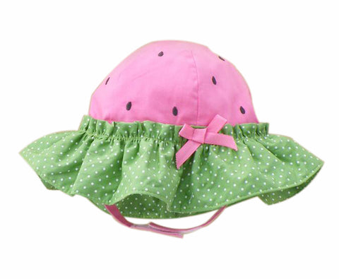 Summer Baby Girl Caps Cotton Sun Hat For 2-3 Years Baby Rose Red Green