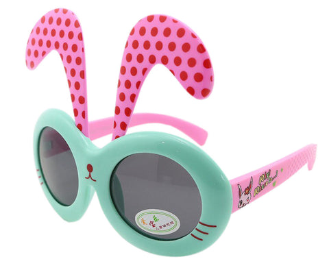 Detachable Dot Rabbit Ear Ultraviolet-Proof Baby Sunglasses-Teal Frame