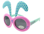 Detachable Black Dot Rabbit Ear Ultraviolet-Proof Baby Sunglasses-Pink Frame