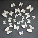 12PSC Vivid Butterfly Wall Stickers Art Decal White, Magnet + Blu Tack