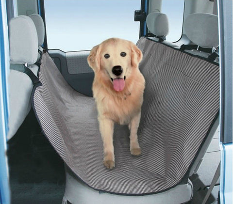 "Striped Bench Seat Dog Car Seat Cover Light Gray- One Size Fit Most: 51""""Wx53""""H"