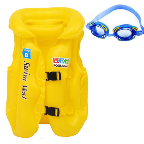 Professional Thicken Child Swim Buoyancy Lifejacket Swimsuit Inflatable Yellow