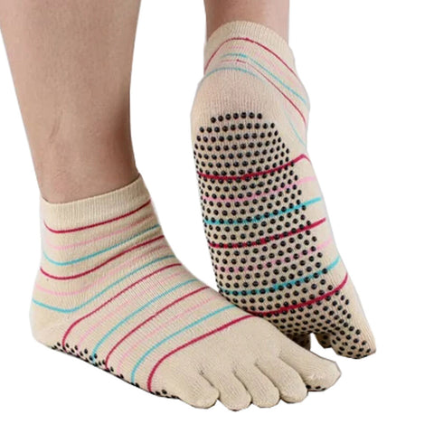 Women's Non-Slip Socks Full Toe Yoga Socks  Striped Cotton Pilates Socks,Beige