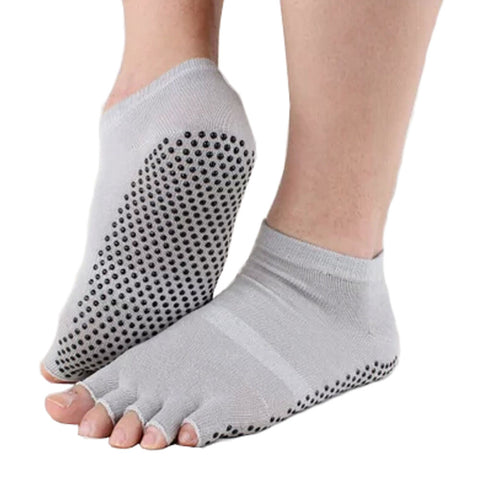 Pure Women's Non Slip Half Toe  Yoga Socks Cotton Toeless Pilates Socks,Gray