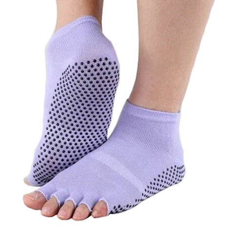 Pure Women's Non Slip Half Toe  Yoga Socks Cotton Toeless Pilates Socks,Purple