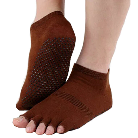 Pure Women's Non Slip Half Toe  Yoga Socks Cotton Toeless Pilates Socks,Brown