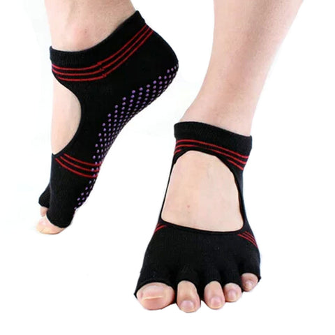 Women's Non Slip Half Toe  Yoga Socks Cotton Toeless&Backless Pilates Socks
