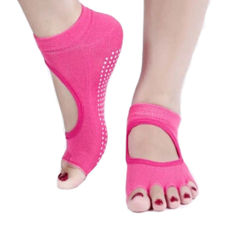 Women's Non Slip Half Toe  Yoga Socks Cotton Toeless&Backless Pure Socks,Rose