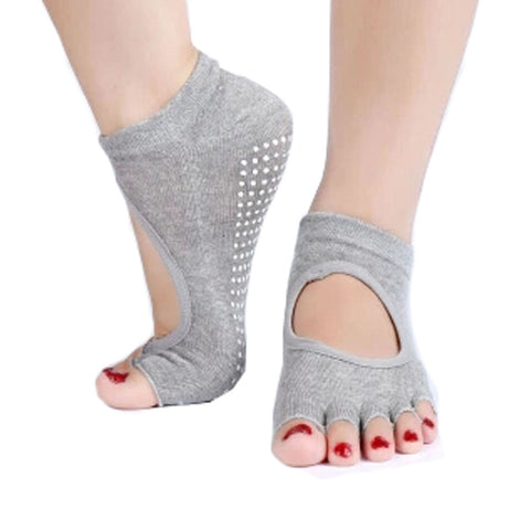Women's Non Slip Half Toe  Yoga Socks Cotton Toeless&Backless Pure Socks,Gray