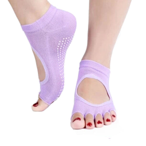 Women's Non Slip Half Toe  Yoga Socks Cotton Toeless&Backless Pure Socks,Purple