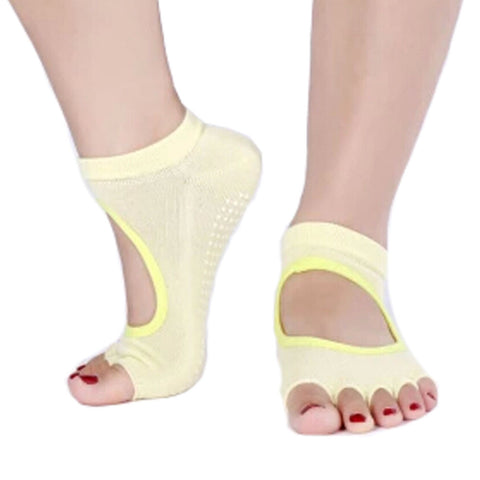 Women's Non Slip Half Toe  Yoga Socks Cotton Toeless&Backless Pure Socks,Yellow