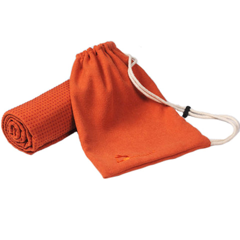 "72""""x24"""" Microfiber Non-Slip Yoga Towel Yoga Mat Towels + Carry Bag, Rust-Red"