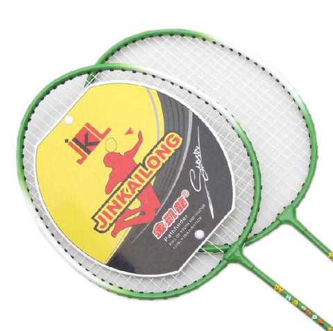 Kids Badminton Set, 2 Packs Badminton Racquets, a case, 3 Shuttlecocks GREEN