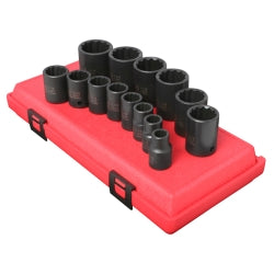 "14 Piece 1/2"""" Drive 12 Point Standard SAE Impact Socket Set"