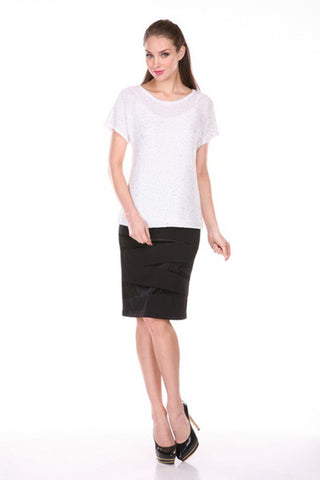 Round Neck, Short Sleeeves, Sequenced Top Black Large: Black, Small