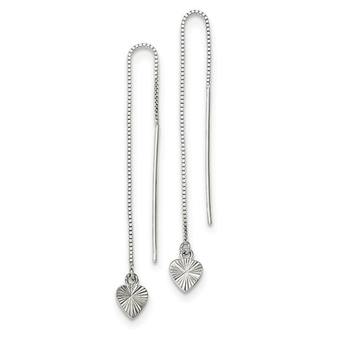 Sterling Silver Polished Diamond-cut Dangle Heart Post Earrings