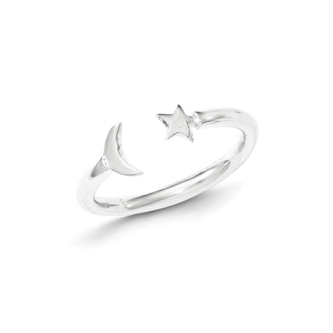 Sterling Silver Polished Half Moon And Star Adjustable Ring