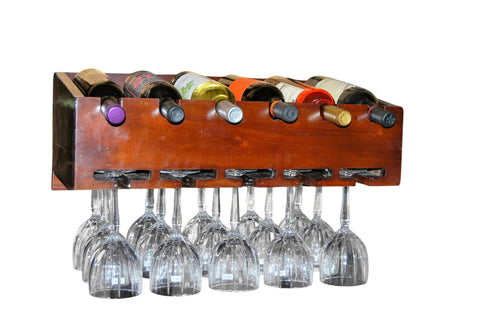 Wall mounted wine rack stem ware holder holds 6 bottles and 15 wine glasses
