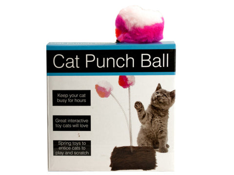 Cat Punch Ball Toy with Furry Base: Case of 5