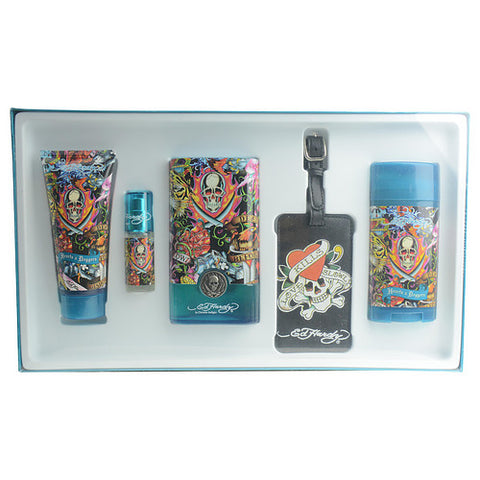 ED HARDY HEARTS & DAGGERS by Christian Audigier EDT SPRAY 3.4 OZ & DEODORANT STICK ALCOHOL FREE 2.75 OZ & HAIR AND BODY WASH 3 OZ & EDT SPRAY .25 OZ MINI & LUGGAGE TAG