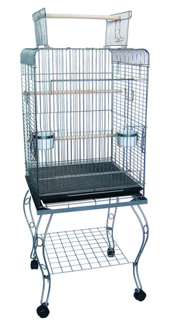 "20"""" Open Top Parrot Cage With Stand In Antique Silver"