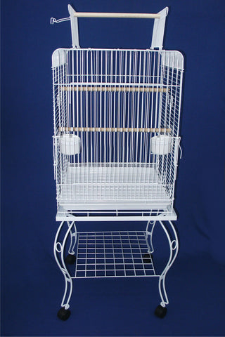 "20"""" Open Top Parrot Cage With Stand - White"