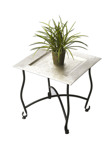 "Butler Home Decor Furniture Moroccan Tray Table Finish Type Light Metalworks 16.25""""W x 16.25""""D x 15.75""""H 2867025"