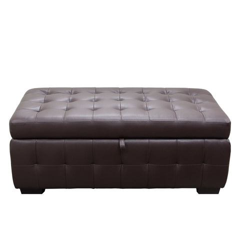 Diamond Sofa Home Furniture Zen Collection, Bonded Leather Lift Top Tufted Storage Trunk Mocca