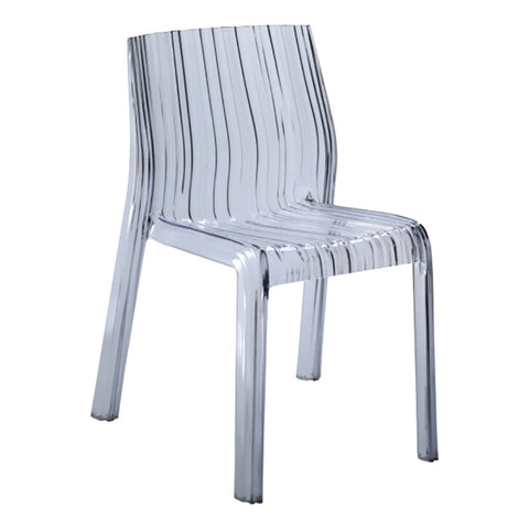 Fine Mod Imports Decorative Furniture Stripe Dining Chair, Clear
