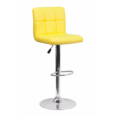 Flash Furniture Contemporary Yellow Quilted Vinyl Adjustable Height Bar Stool with Chrome Base [DS-810-MOD-YEL-GG]