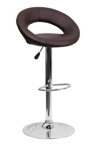 Flach Furniture Contemporary Brown Vinyl Rounded Back Adjustable Height Bar Stool with Chrome Base [DS-811-BRN-GG]
