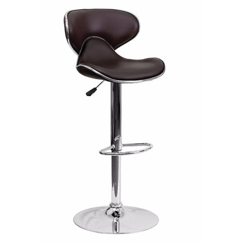 Flach Furniture Contemporary Cozy Mid-Back Brown Vinyl Adjustable Height Bar Stool with Chrome Base [DS-815-BRN-GG]