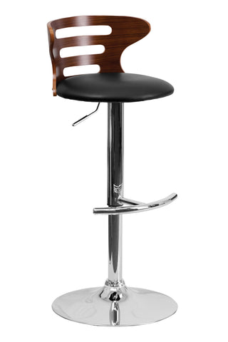 Flach Furniture Walnut Bentwood Adjustable Height Bar Stool with Black Vinyl Seat and Cutout Back [SD-2019-WAL-GG]