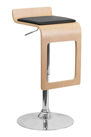 Flash Furniture Home Indoor Beech Bentwood Adjustable Height Bar Stool with Black Vinyl Seat and Drop Frame