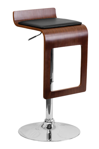 Flach Furniture Walnut Bentwood Adjustable Height Bar Stool with Black Vinyl Seat and Drop Frame [SD-2075-1-WAL-GG]