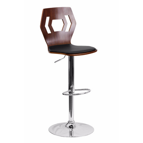 Flach Furniture Walnut Bentwood Adjustable Height Bar Stool with Black Vinyl Seat and Cutout Back [SD-2162-WAL-GG]