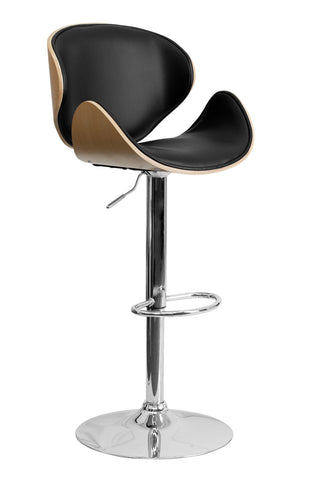 Flach Furniture Beech Bentwood Adjustable Height Bar Stool with Curved Black Vinyl Seat and Back [SD-2203-BEECH-GG]