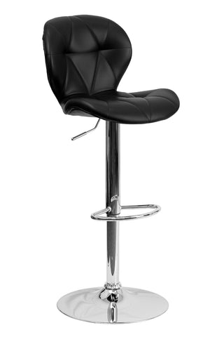 Flach Furniture Contemporary Tufted Black Vinyl Adjustable Height Bar Stool with Chrome Base [SD-2208-BK-GG]