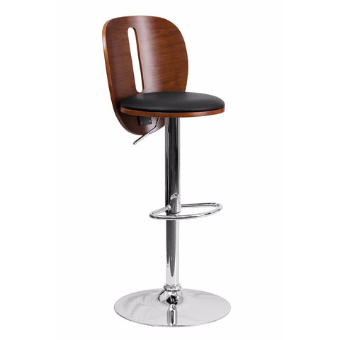 Flach Furniture Walnut Bentwood Adjustable Height Bar Stool with Black Vinyl Seat and Cutout Back [SD-2220-WAL-GG]