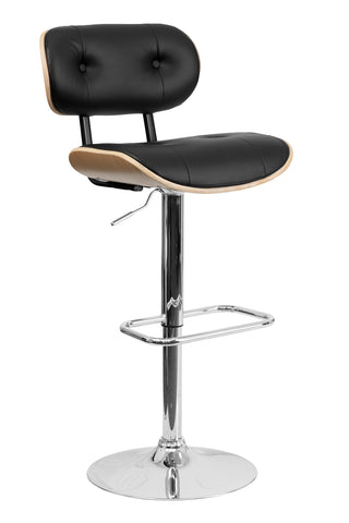 Flach Furniture Beech Bentwood Adjustable Height Bar Stool with Button Tufted Black Vinyl Upholstery [SD-2228-BEECH-GG]